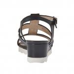 Sandale pour femmes avec boutons en cuir noir talon compensé 3 - Pointures disponibles:  42