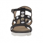Woman's sandal with buttons in black leather wedge 3 - Available sizes:  42