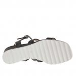Sandalia para mujer con botones  en piel negra cuña 3 - Tallas disponibles:  42