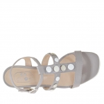 Woman's sandal with buttons in dove grey leather wedge 3 - Available sizes:  42
