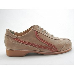 Men's sports shoe with laces in beige suede and tan-colored leather  - Available sizes:  36, 49, 50