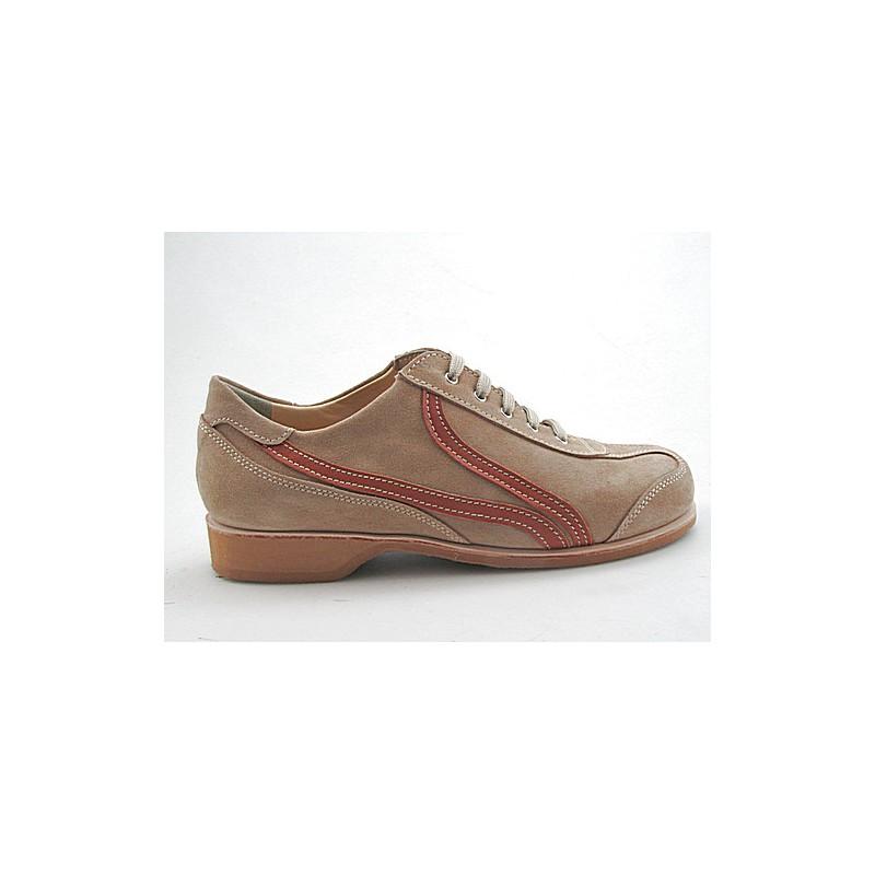 Zapato con cordones para hombre en gamuza beis y piel de color cuero - Tallas disponibles:  36, 49, 50