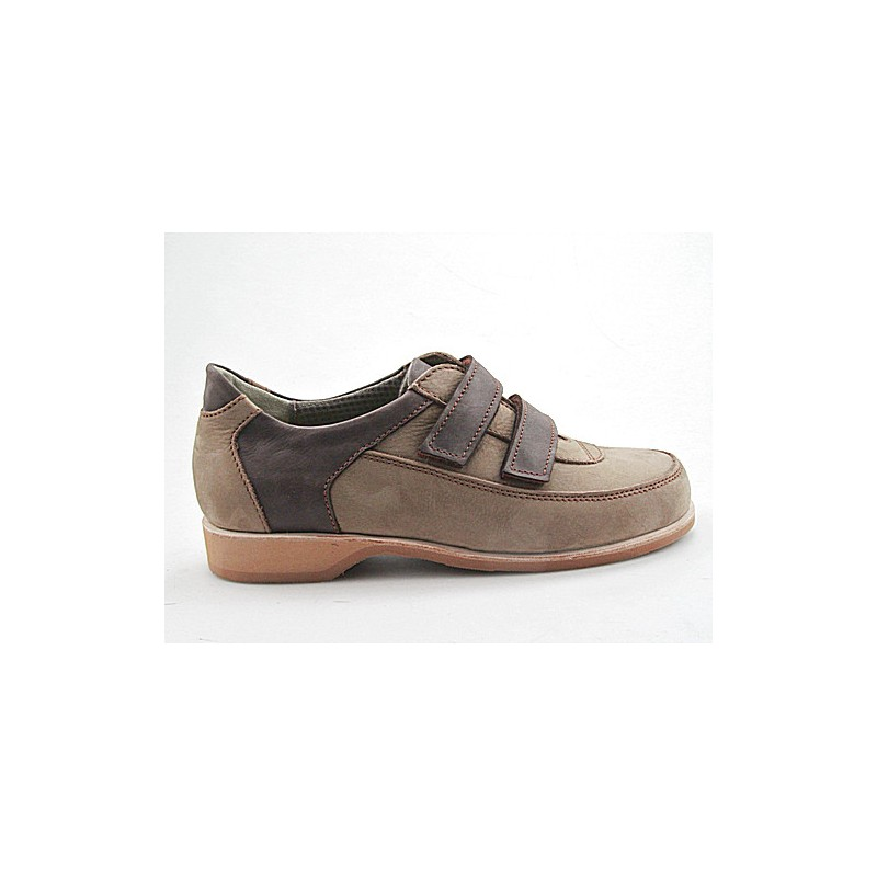 Men's sports shoe with velcro straps in dark beige suede and brown leather - Available sizes:  36, 37, 38