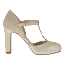 Scarpa aperta da donna con cinturino charleston in pelle laminata e vernice beige platino con plateau interno tacco 9 - Misure disponibili: 43