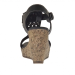 Woman's t-strap sandal in black pierced leather with cork platform and wedge 9
