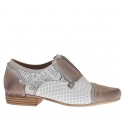 Woman's shoe in brown and white newspaper printed and pierced leather heel 2
