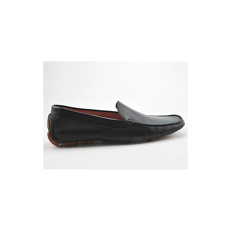Sport mocassin in black leather - Available sizes: 51