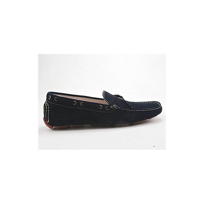 Men's car shoe with laces in dark blue suede - Available sizes:  51