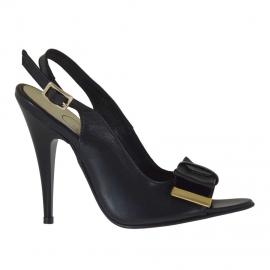 Sandalo da donna in pelle e vernice nera con fiocco rimovibile tacco 10 - Misure disponibili: 33