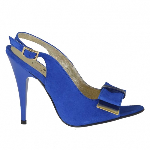 Woman's sandal in electric blue suede and patent leather with bow heel 10