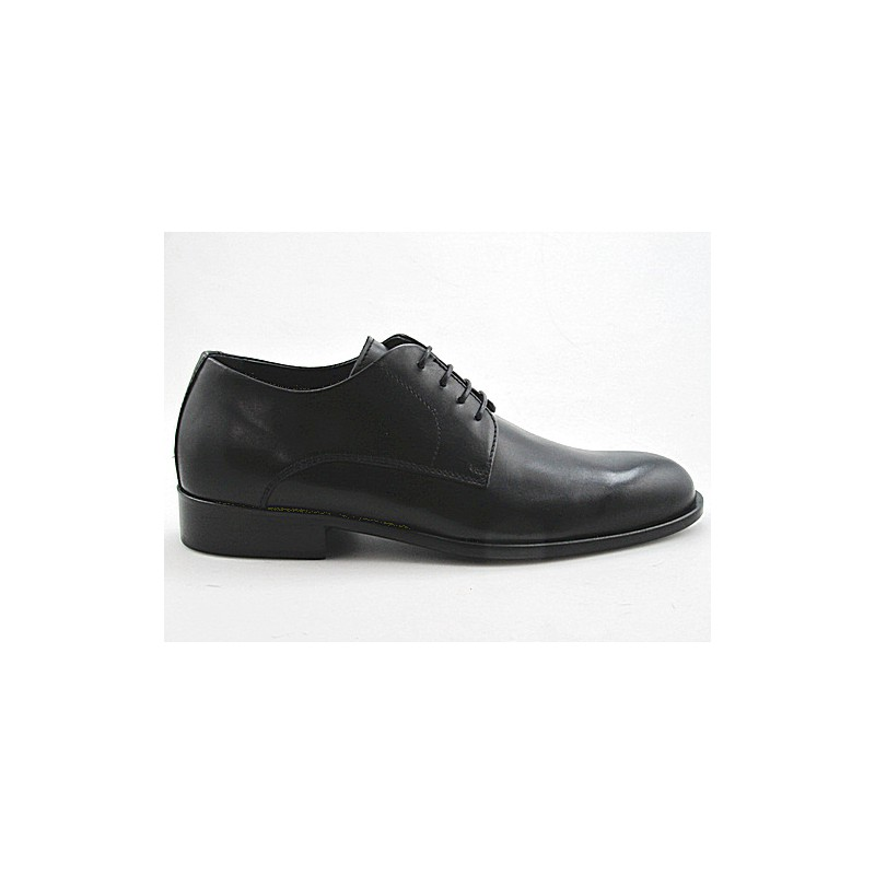 Men's elegant laced derby shoe in black smooth leather - Available sizes:  50