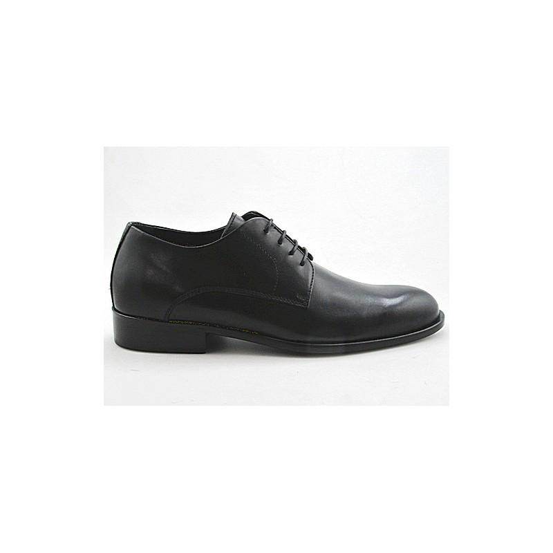 Zapato derby elegante con cordones para hombre en piel lisa negra - Tallas disponibles:  50