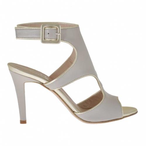 Sandale pour femmes avec courroie en cuir platine et gris tourterelle talon 9 - Pointures disponibles:  43, 47
