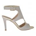 Sandale pour femmes avec courroie en cuir platine et gris tourterelle talon 9