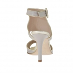 Woman's strap sandal in platinum and dove grey leather heel 9