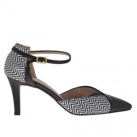 Scarpa aperta da donna con cinturino in pelle nera e bianca stampata optical tacco 7 - Misure disponibili: 47