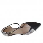 Escarpin ouvert pour femmes avec courroie en cuir imprimé optique géométrique noir et blanc talon 7 - Pointures disponibles:  47