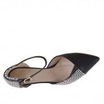Woman's open strap shoe in optical black and white printed leather heel 7