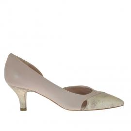 Scarpa da donna aperta al lato in pelle rosa cipria e laminato platino tacco 5 - Misure disponibili: 31, 32, 46