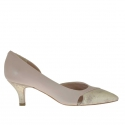 Woman's open shoe with side cut in powder rose leather and platinum lamé heel 5