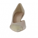 Woman's open shoe with side cut in powder rose leather and platinum lamé heel 5 - Available sizes:  32