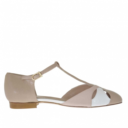 Woman's open shoe with t-strap in powder rose and beige leather and white patent leather - Available sizes:  31