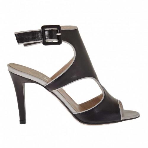 Sandale pour femmes avec courrie en cuir noir et beige talon 9 - Pointures disponibles:  42