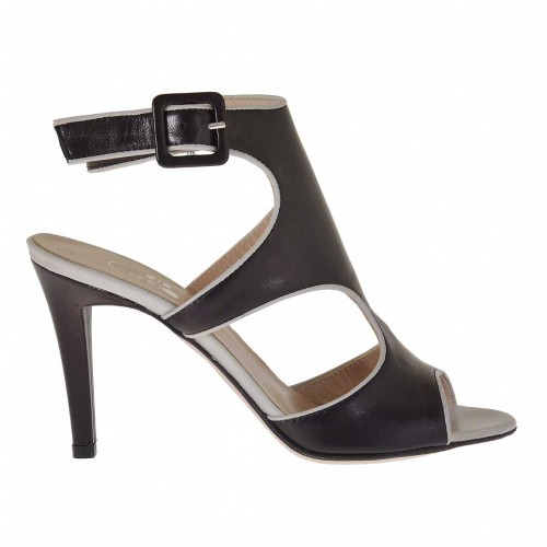 Woman's strap sandal in black and beige leather heel 9 - Available sizes:  42