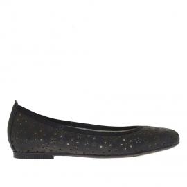 Scarpa da donna ballerina in pelle nera forata a fiori - Misure disponibili: 33