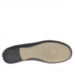Ballerina chaussure pour femmes en cuir percé noir avec motif fleur - Pointures disponibles:  33