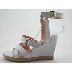 Sandalo zeppa in pelle colore bianco - Misure disponibili: 42