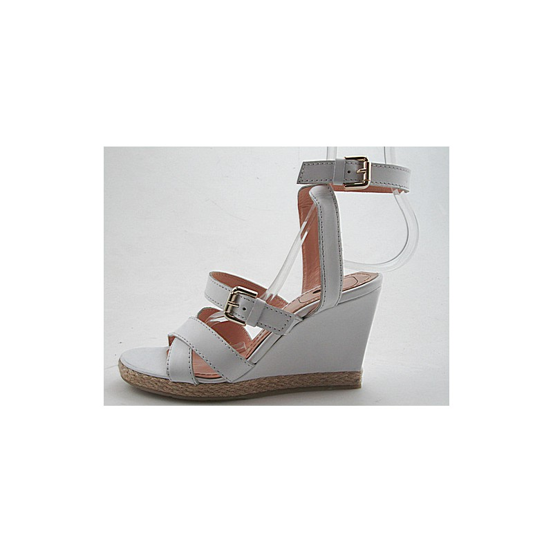 Woman's sandal with buckles and platform in white leather wedge heel 9 - Available sizes:  42