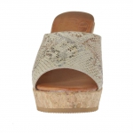 Woman's open mules with elastic band in python printed leather with cork platform and heel 9