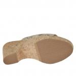 Mule ouvert pour femmes avec elastique en cuir imprimé python avec plateforme et talon en liège 9 - Pointures disponibles:  42
