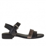 Woman's strap sandal in black and gunmetal leather heel 2