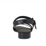 Sandale pour femmes avec courroie en cuir noir et bronze à canon talon 2 - Pointures disponibles:  32