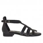 Chaussure ouvert pour femmes avec fermeture éclair et courroie en cuir noir - Pointures disponibles:  32