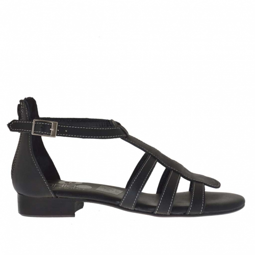 Woman's open shoe with zipper and strap in black leather