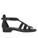 Chaussure ouvert pour femmes avec fermeture éclair et courroie en cuir noir
