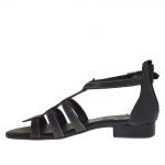 Woman's open shoe with zipper and strap in black leather - Available sizes:  32
