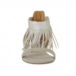 Escarpin ouvert avec fermeture éclair et franges en cuir platine - Pointures disponibles:  34