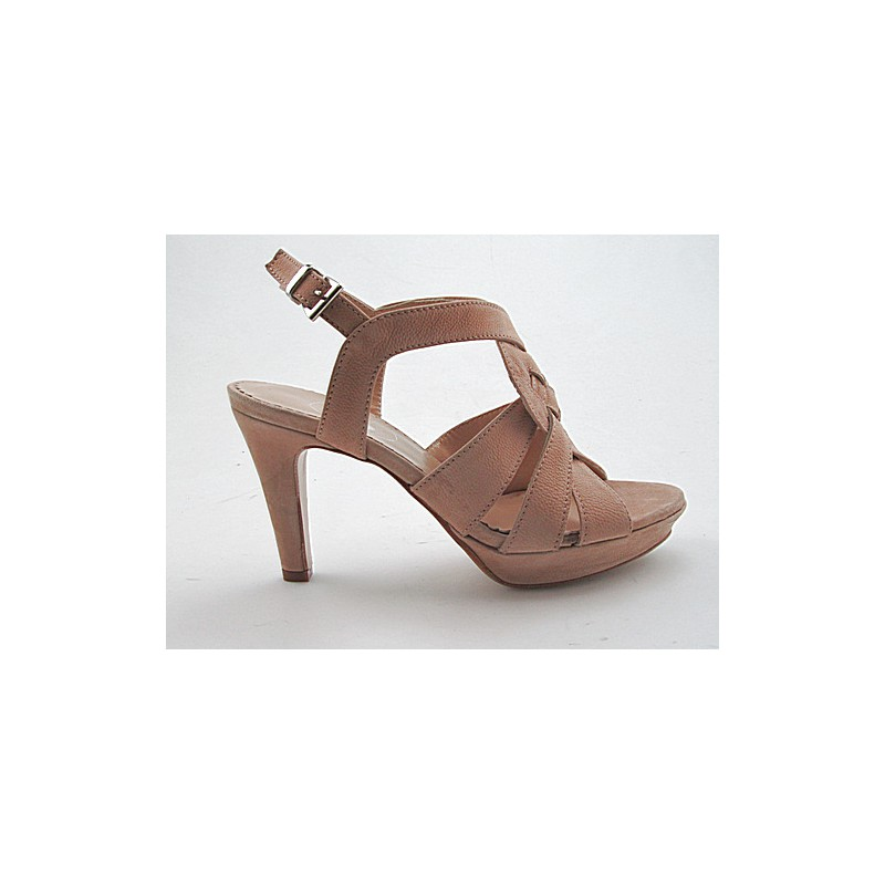 Platform sandal in beige nabuk leather - Available sizes:  42