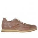 Chaussure sportive pour hommes avec lacets en cuir antique brun clair