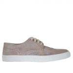 Men's laced sports shoe with wingtip decorations in taupe vintage leather - Available sizes:  46