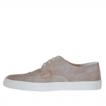Men's laced sports shoe in taupe vintage leather