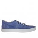Chaussure sportif pour hommes avec lacets en cuir antique et tissu bleu