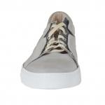 Chaussure sportif pour hommes avec lacets en cuir et tissu gris - Pointures disponibles:  46