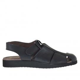 Sandale pour hommes à bout fermé avec fermeture velcro en cuir noir - Pointures disponibles:  46