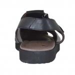 Sandale pour hommes à bout fermé avec fermeture velcro en cuir noir - Pointures disponibles:  46, 47