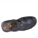 Sandalo a punta chiusa da uomo in pelle nera con velcro - Misure disponibili: 46, 47